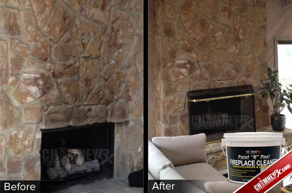 02 Large Stone Fireplace Smoke Stains Before After Paint N