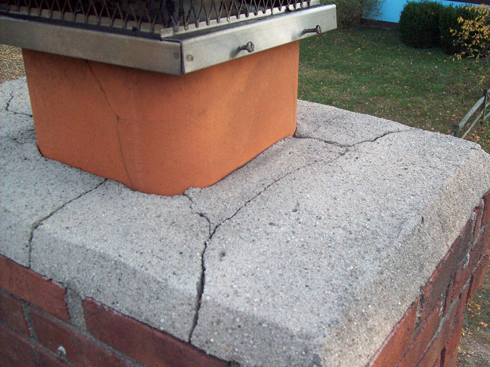 Severely Cracked Chimney Crown Chimney Rx